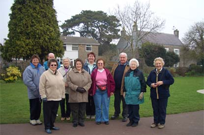 Photo of the Yatton walkers meeting at the Glebelands opposite Yatton Church (by high street)